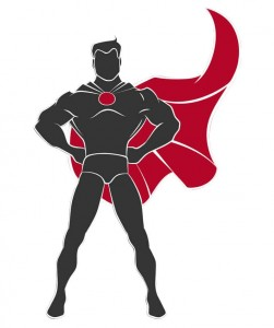 Black and white superhero with a red cape