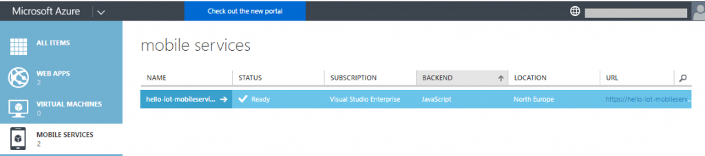 Selected Device in Azure