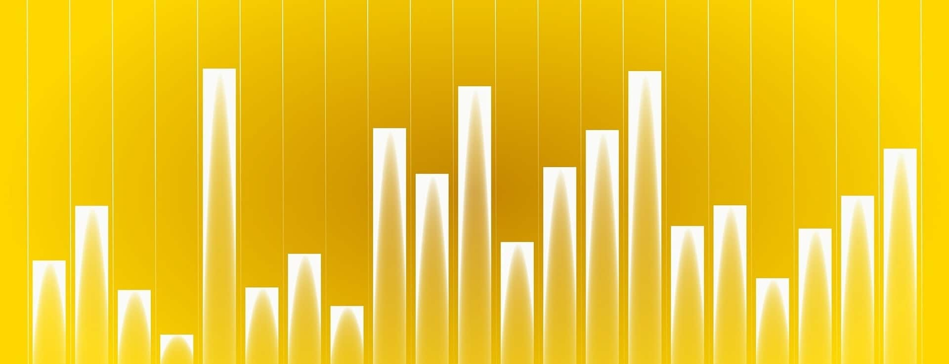 bar graph showing different heights in gold