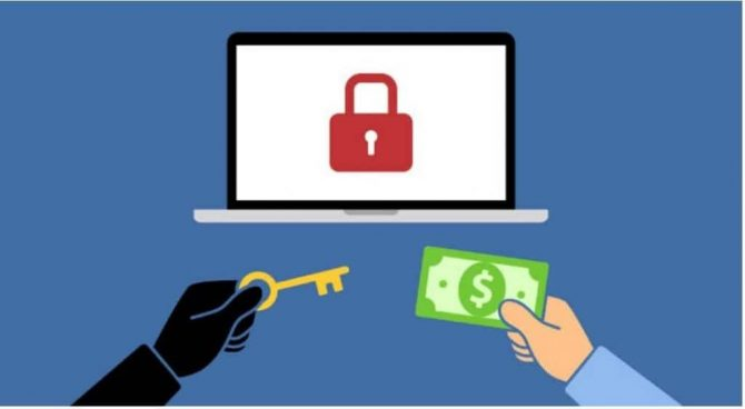 Ransomware symbols, a key being exchanged for cash